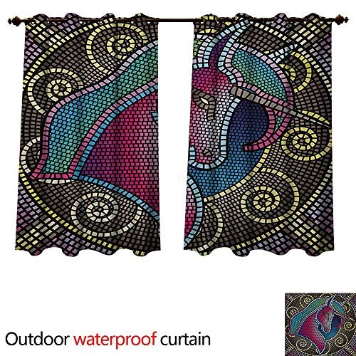 Fantasy 0utdoor Curtains for Patio Waterproof Fractal Unicorn Figure with Mosaic Art Tile Effects Girlish Creature Display Print W120 x L72(305cm x 183cm) -