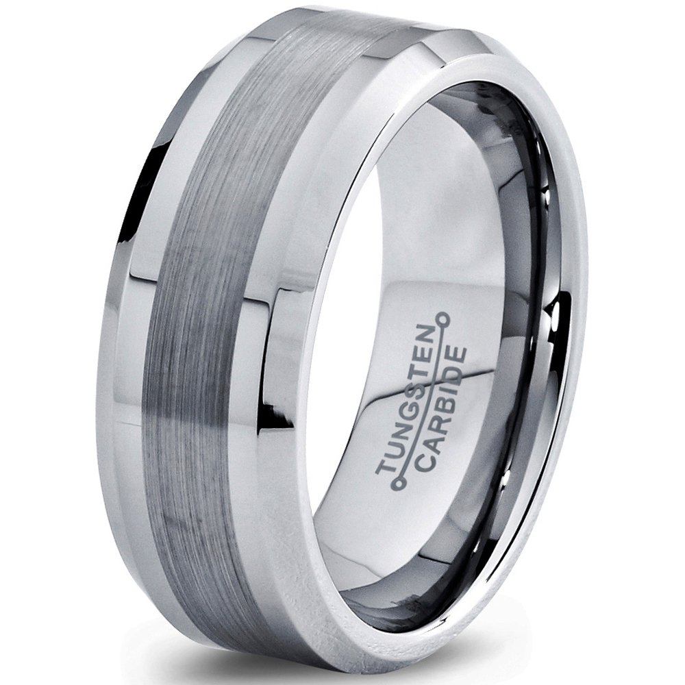 Tungsten Wedding Band Ring 8mm 6mm for Men Women Comfort Fit Grey Beveled Edge Brushed FREE Custom Laser Engraving Lifetime Guarantee