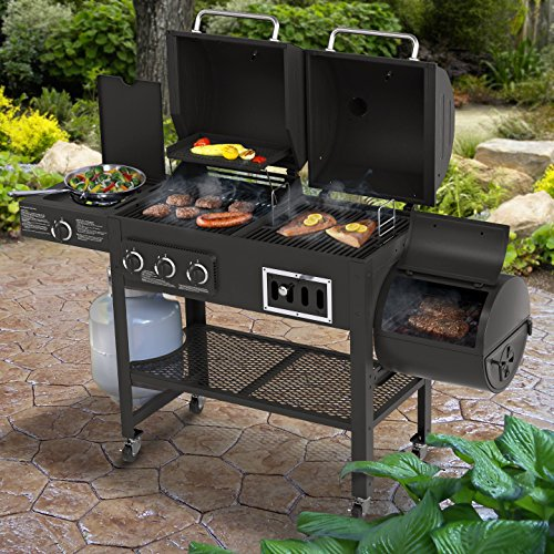 Smoke Hollow 3500 4-in-1 Combination 3-Burner Gas Grill with Side Burner, Charcoal Grill and Smoker/Firebox