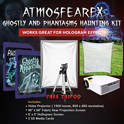 Amosfearfx Ghostly Apparitions And Phantasms Video Ultimate Projector (1900 Lumen) Bundle.Includes Projector, SD Media Cards, Translucent Window Screen And Hologram Screen -