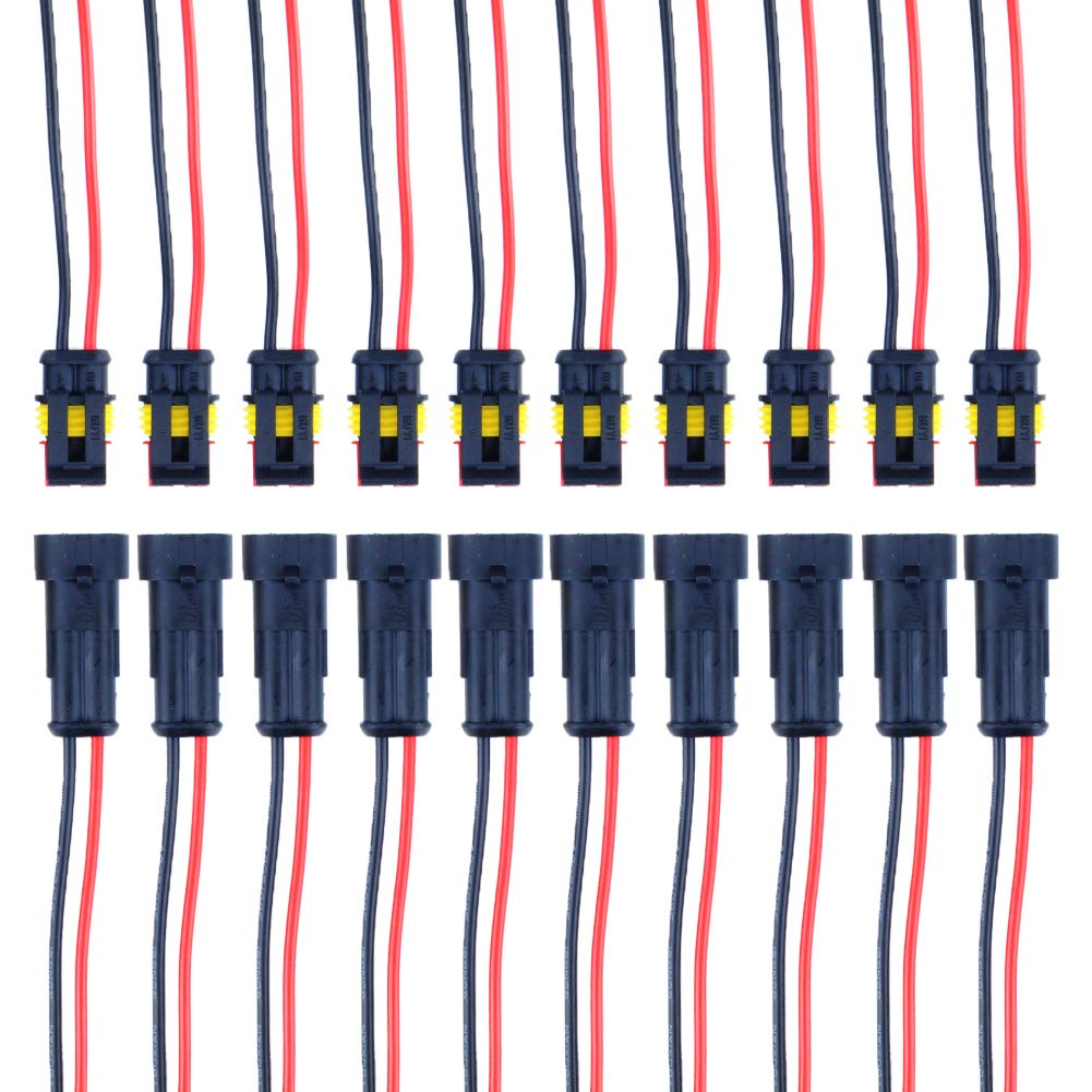 MUYI 2 Pin Way Car Waterproof Electrical Connector with Wire 16 AWG Marine Plugs Pack of 10