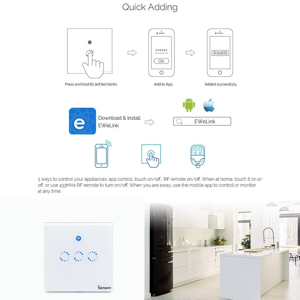 Sonoff Smart WiFi RF APP Touch Control Wandleuchte 1 2: Amazon.de ...