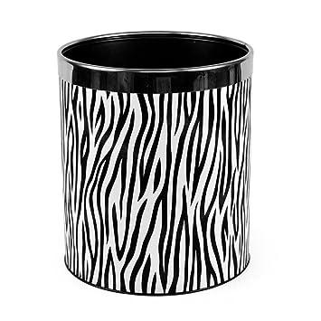 Creative Zebra Stripe Pu Leather Kitchen Trash Can Trash Can Sitting Room  Trash Bins Bedroom