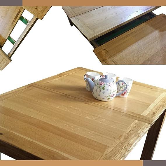 Madera maciza de roble extensible 120 cm -165 cm mesa de comedor con ...