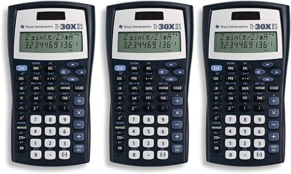Texas Instruments TI-30X IIS 2-Line Scientific Calculator, Black with Blue Accents 3 Pack