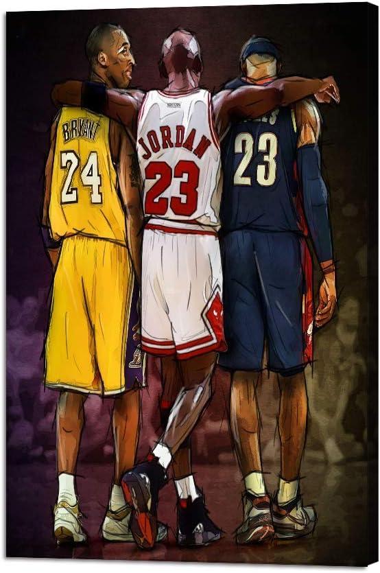 NBA Legends Michael Jordan & Kobe Bryant & Lebron James Posters Prints on Canvas Basketball Fan Memorabilia Gifts Stretched and Framed Modern Home Decoration Boy Girl Bedroom(24''W x 36''H)