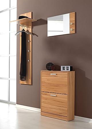 3 Tlg Garderoben Set Torino Farbe Kernbuche Amazon De Kuche