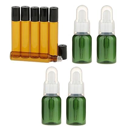 MagiDeal 4pcs Botella Contenedor Frasco Gotero Pipeta Vacía para Aceite Esencial 35ML + 6pcs 10ml Rollo