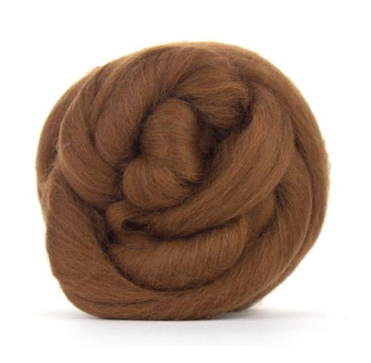 Medium Brown Merino Wool roving/Tops - 50gm. Great for Wet Felting/Needle Felting, and Hand Spinning Projects.