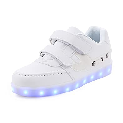 971bcc4774d8 SAGUARO Dual Hook-and-Loop Strap Low Top LED Shoes Kids Light up USB