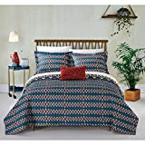 un 4 Piece Blue Yellow Gold Red African Themed Quilt Queen Set, Hippie Pattern Bedding Bohemian Hippy Tribal Native American Southwest Paisley Motif, Reversible Diamond Aztec Artistic, Microfiber