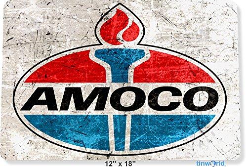 "TIN SIGN 12"" x 18"" Amoco Gas Oil Station Pump Metal Decor Wall Art Garage Auto Shop Tinworld B103"