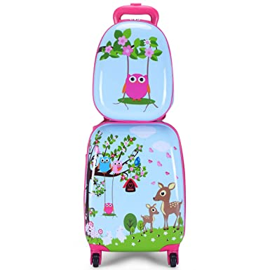 Goplus 2Pc 12quot 16quot Kids Carry On Luggage Set Upright Hard Side Shell