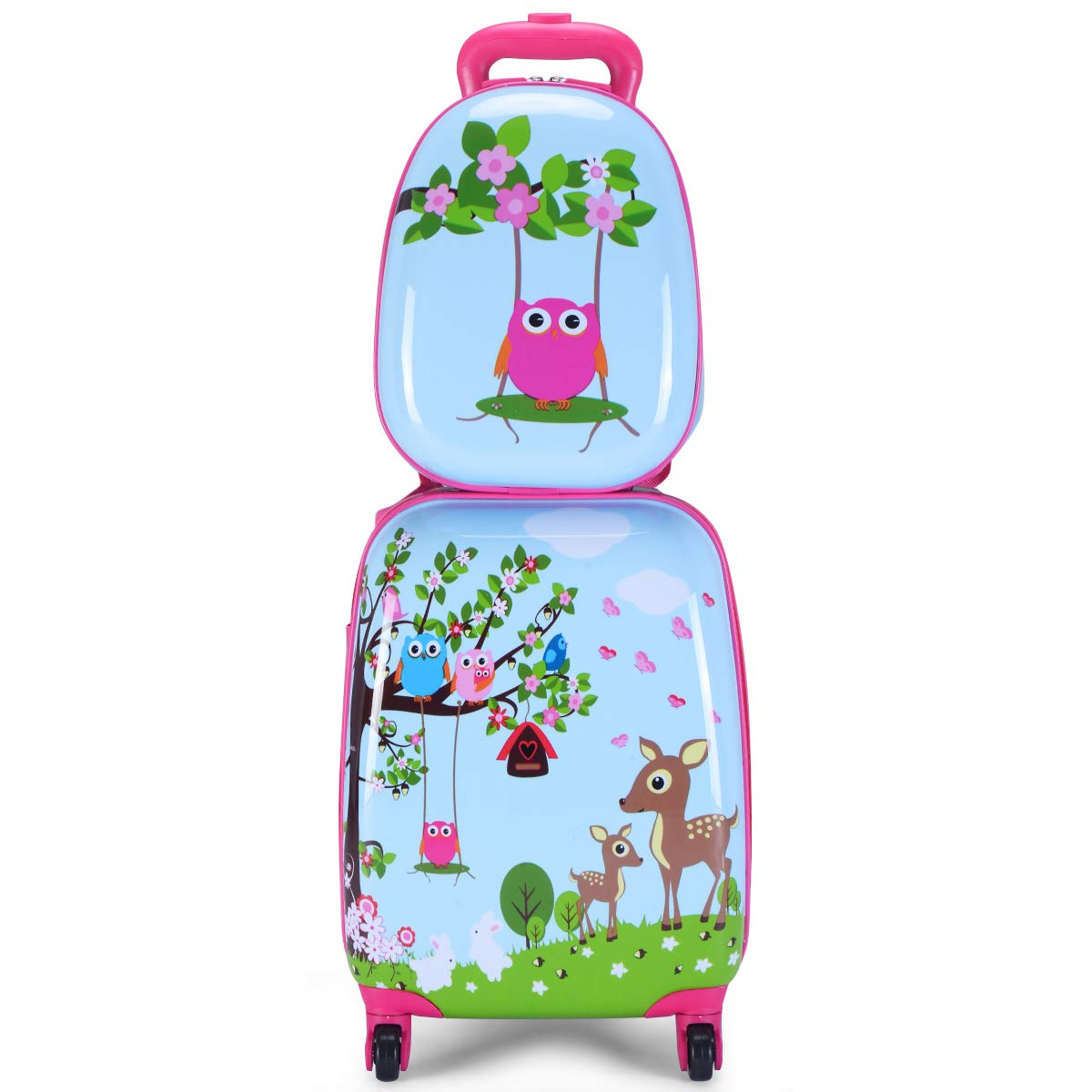 Goplus 2Pc 12'' 16'' Kids Carry On Luggage Set Upright Hard Side Hard Shell Suitcase School Travel Trolley ABS (Deer & Birds)