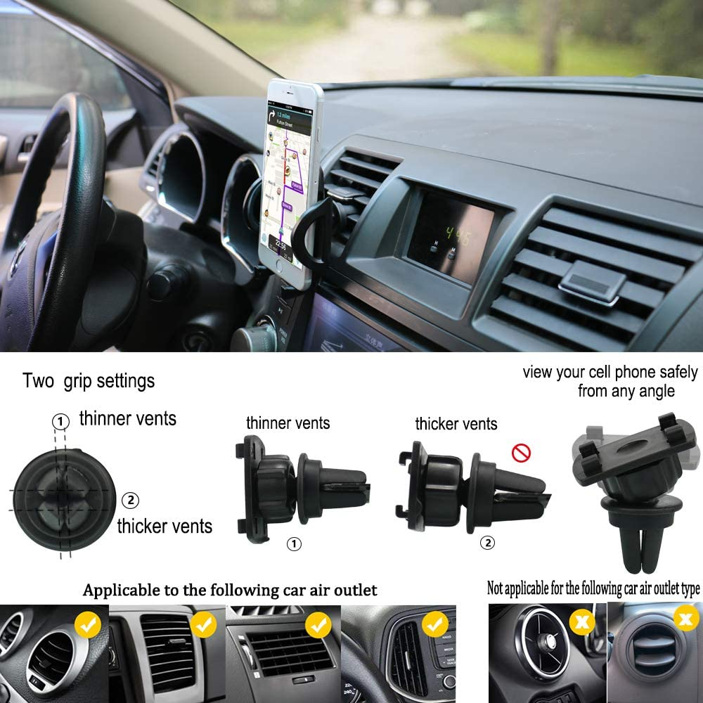 PLDHPRO 2-in-1 Universal Car Air Vent Stick On Dashboard Mount Cradle 360/° Rotation Adjustable for iPhone Samsung Sony Google All 4-6 Smartphones Car Phone Holder