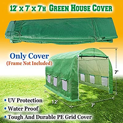 BenefitUSA Cover Canopy Replacement for Hot Green House 12'X7'X7' Larger Walk in Outdoor Plant Gardening Greenhouse Plant Protector (Frame not Include) from BenefitUSA