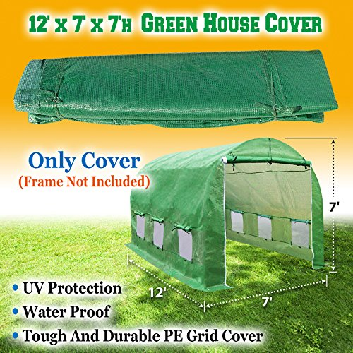 BenefitUSA Cover Canopy Replacement For Hot Green House 12'X7'X7' Larger Walk In Outdoor Plant Gardening Greenhouse Plant Protector (FRAME not Include) by BenefitUSA