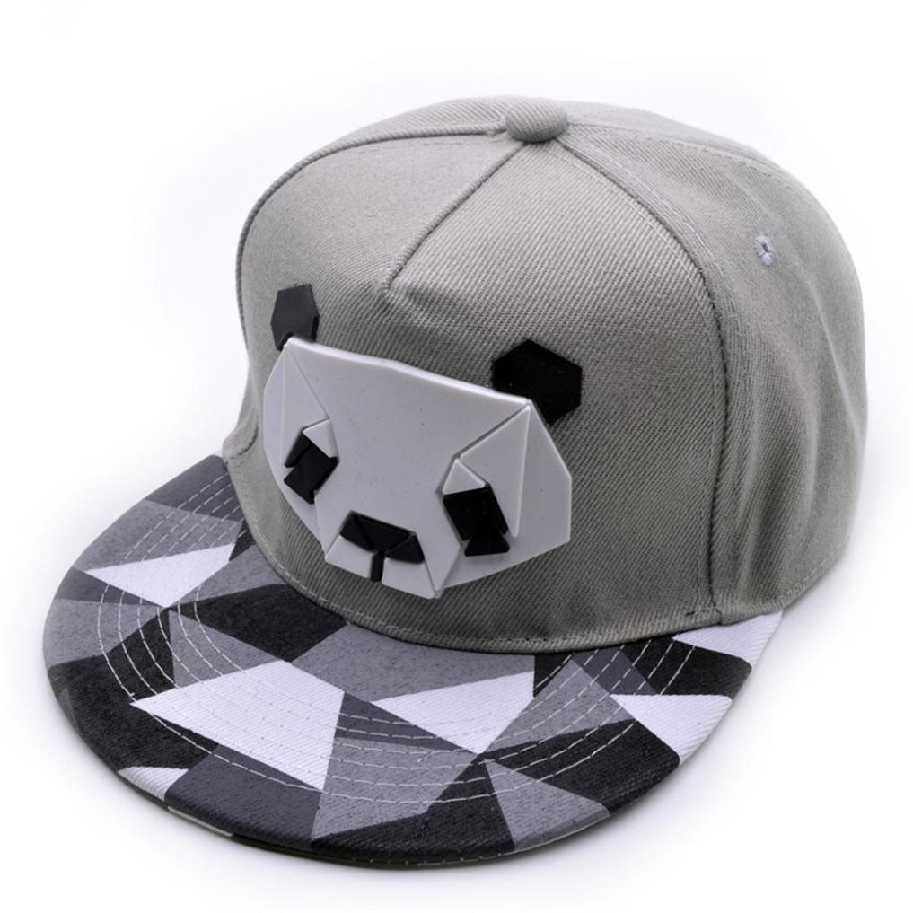 Baseball Hat, Boys Girls Cute 3D Panda Cotton Trucker Cap Snapback Golf Ball Hip-Hop Flat Hat Summer Casual Sports Caps (Gray)