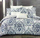 Tahari Bedding 3 Piece King Size Luxury Cotton Duvet Cover Set Geometric Watercolor Floral Medallion Pattern in Shades of Blue and Gray on White
