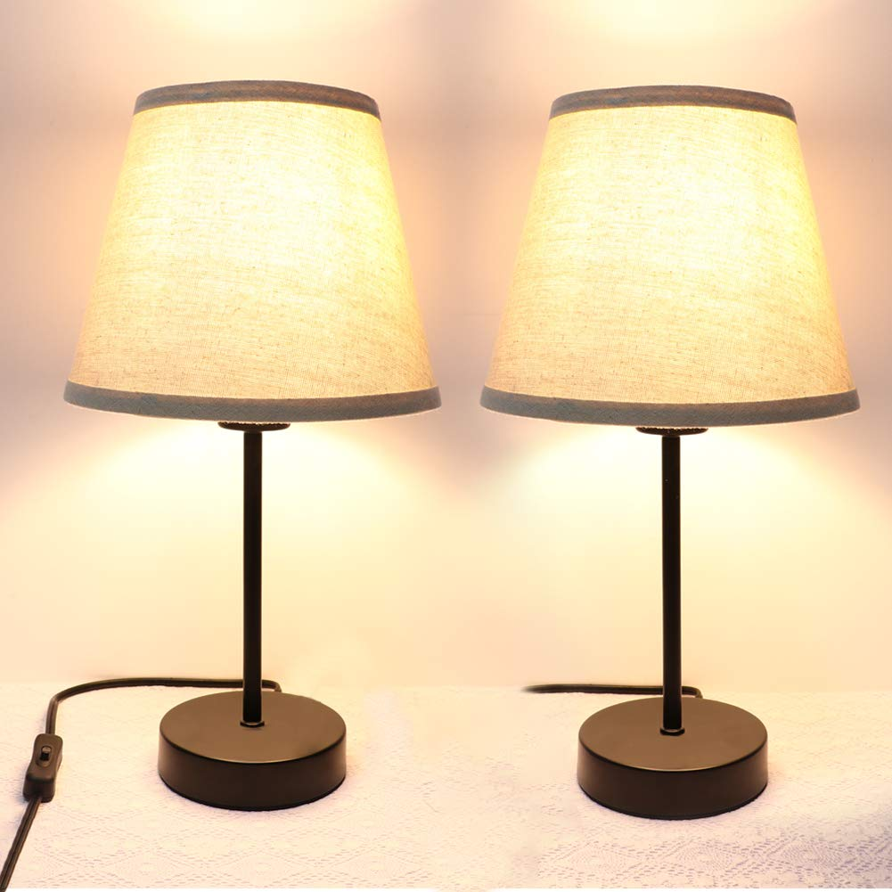 Bedside Table Lamp Set of 2 PARTPHONER Desk Lamp Small Nightstand Lamp