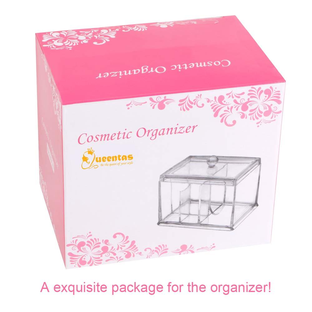 Queentas Make-up-Organizer f/ür Badezimmer Wattest/äbchen-Halter mit Deckel 2 Round Sections Wattest/äbchen-Spender