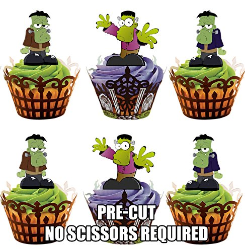 AKGifts Halloween Frankenstein, 12 Cup Cake Toppers, Edible Stand Up Decorations (7 - 10 BUSINESS DAYS DELIVERY FROM UK) (Halloween Cupcake Decorations Edible)