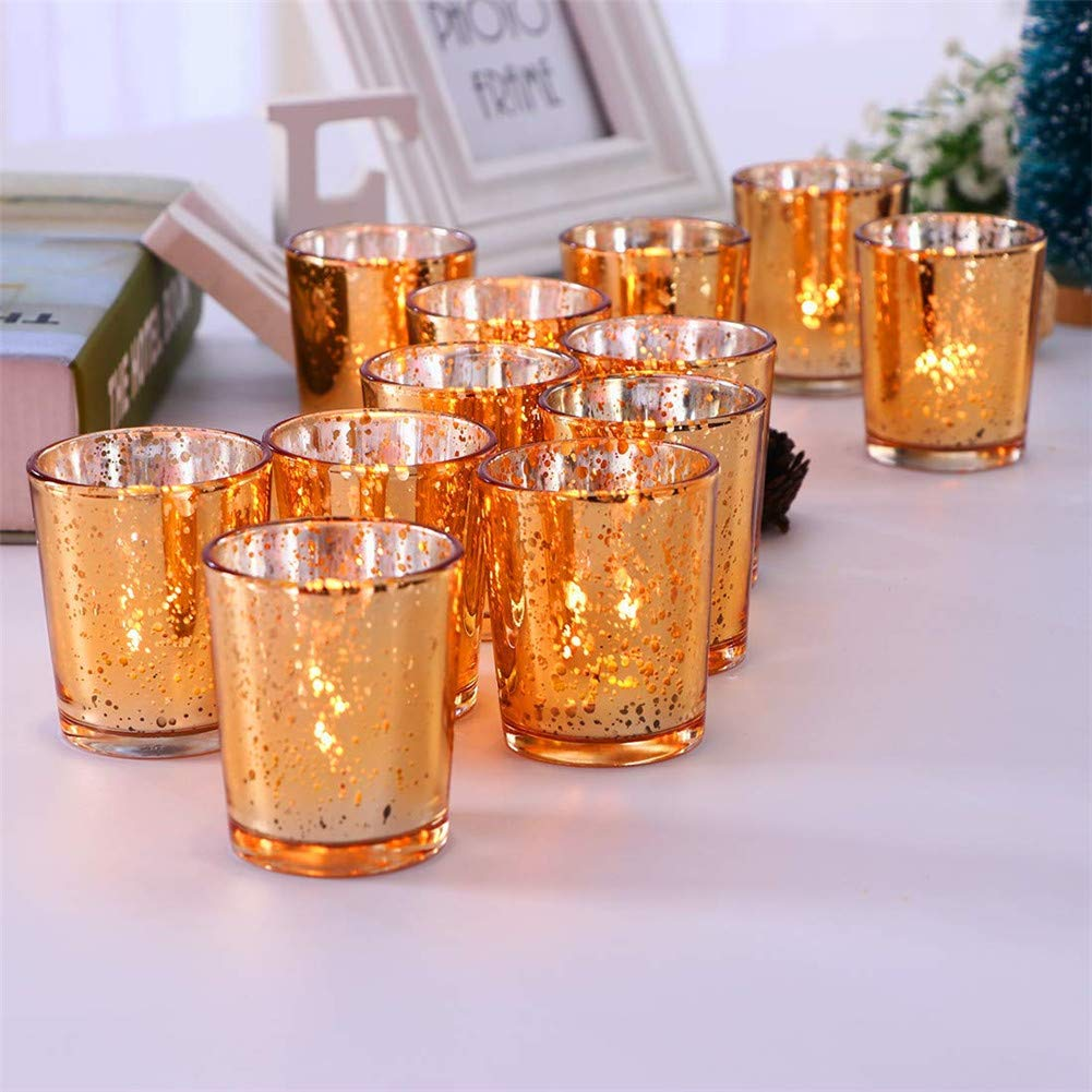 and Wedding Decor Gbateri 12 Pack Speckled Gold Votive Candle Holders,Round Mercury Glass Tealight Candle Holders 2 H for Home -Tea Light Candles not Included Parties Gold
