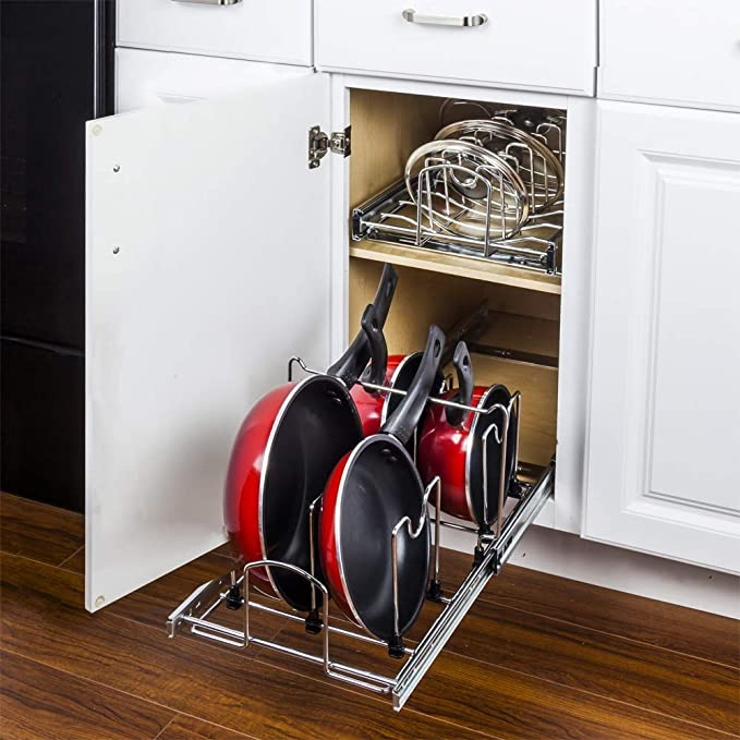 Amazon Com Hardware Resources Pots And Pan Orgainzer For 15 Base Cabinet Mppo215 R By Cabinet Organizers Kitchen Dining