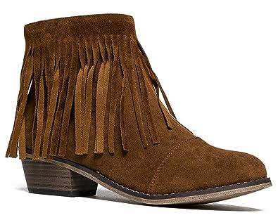 Amazon.com | Breckelles DC62 Women Suede Fringe Cap Toe Ankle