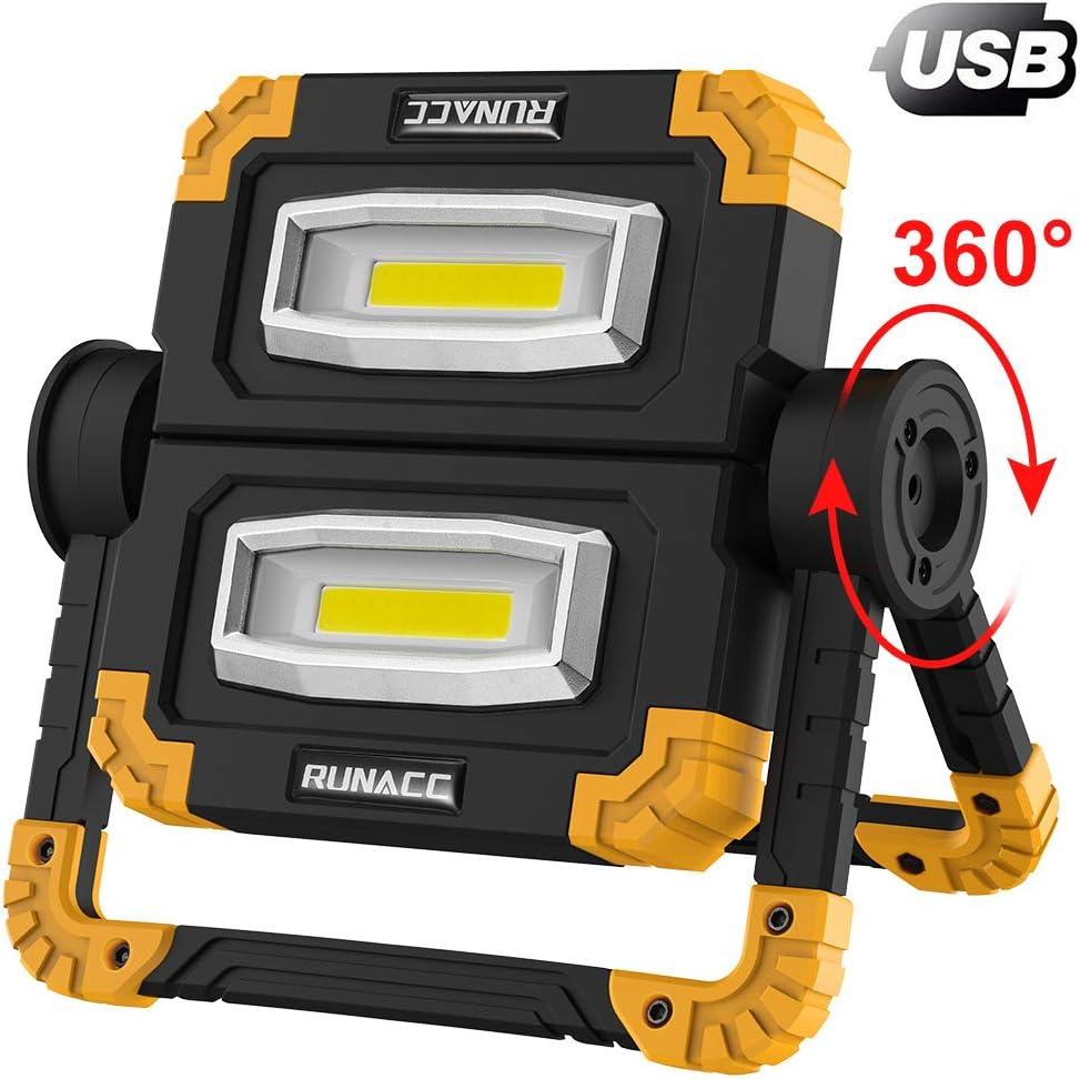 RUNACC LED Luz de trabajo Plegable USB recargable Portátil Luz de inundación Soporte Luces de trabajo con rotación de 360 °