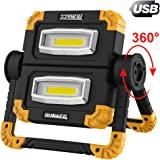 RUNACC LED Work Light USB Rechargeable Folding Portable Waterproof 2 COB 2000LM Flood Light Stand Working Lights for Outdoor Camping Hiking Emergency Car Repairing and Job Site Lighting, 360°Rotation