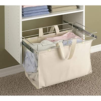 Easy Track Sliding Canvas Hamper Closet Storage, Off White: Home & Kitchen