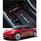 [LFOTPP] Tesla Model 3 専用 センター コンソール ボックストレイ すべり止め ラバーマット付き 車種専用設計 パーツ (赤)