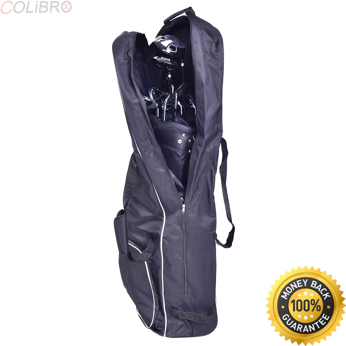 COLIBROX--Black Foldable Golf Bag Travel Cover with Wheel Lightweight Oxford. club champ golf hard travel case. club champ golf bag travel cover. golf bag rain hood black. golf travel hard case.