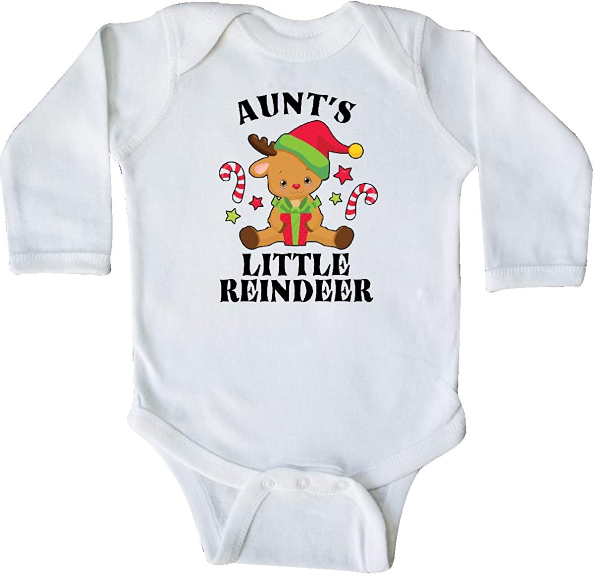 inktastic Christmas Aunts Little Reindeer with Candy Canes Long Sleeve Creeper