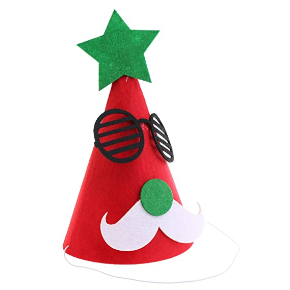 037d7b9c77dfb MagiDeal Merry Christmas DIY Red Felt Fabric Cone Hat Santa Claus Moustache  Glasses Star Cap Kids Birthday Fancy Dress Costume Prop  Amazon.in   Clothing   ...