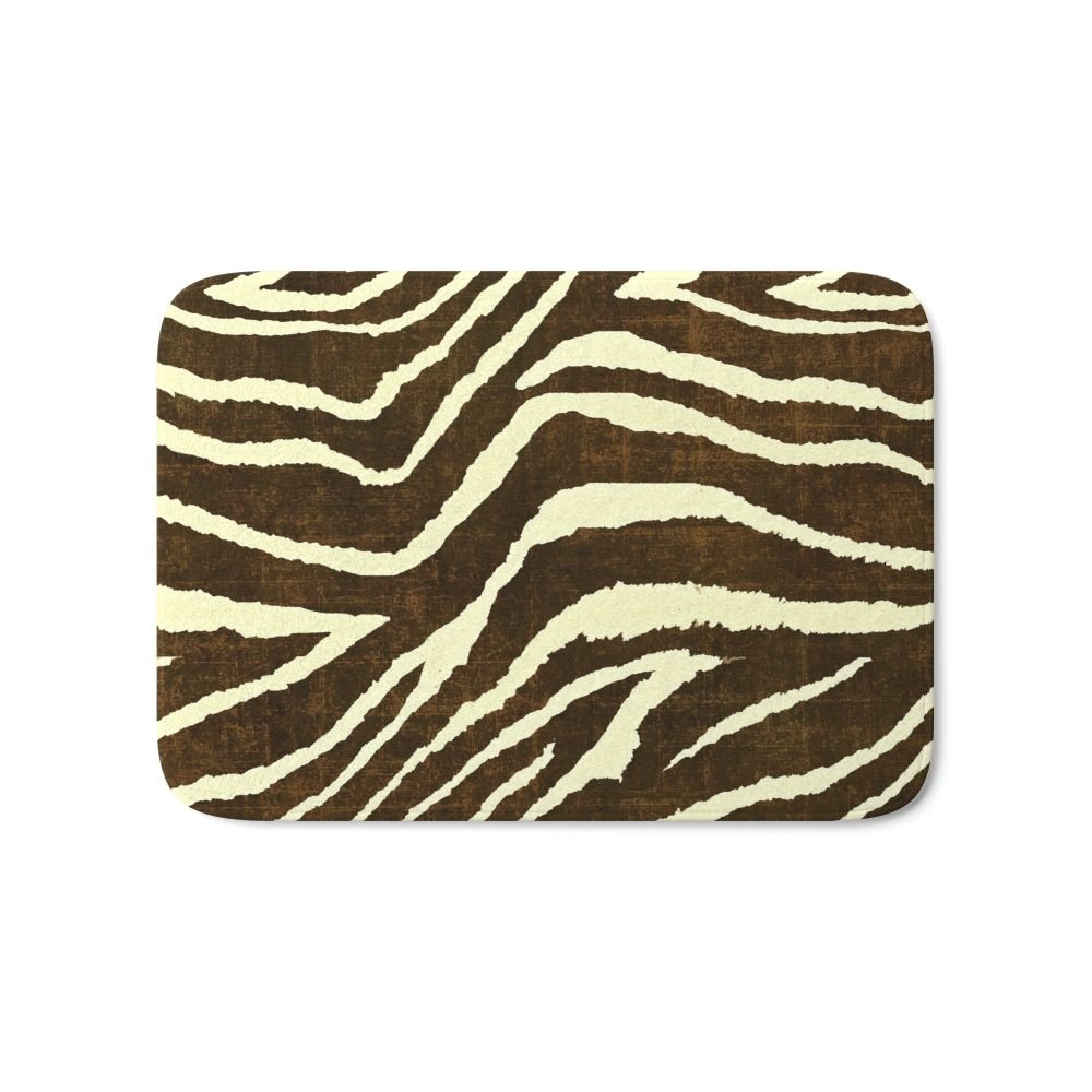Society6 Animal Print Zebra In Winter Brown And Beige Bath Mat 21'' x 34''