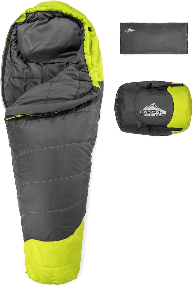 Cascade Mountain Tech Adventure Mummy Sleeping Bag – Lightweight, Compact 3 Season Backpacking Sleeping Bag with Pillow and Compression Sack