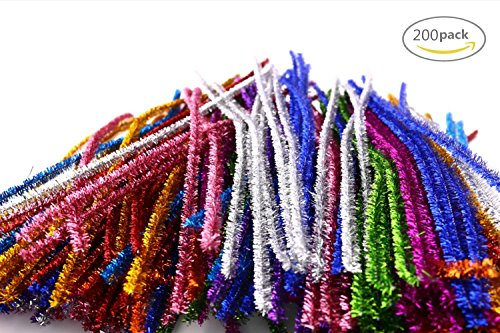 Dr.Pink 200 PCS DIY Multicolor Glitter Creative Arts Chenille Stem Class Pack Pipe Cleaners,6 mm x 12 Inch (Chenille Stems Pink)