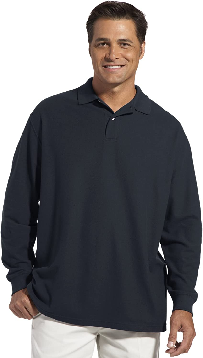 Navy XL Harbor Bay by DXL Big and Tall Honeycomb Pique Polo