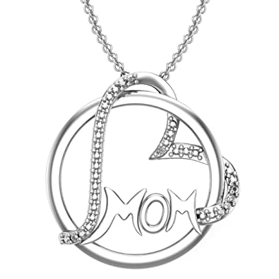 8f1730eac4996 Amazon.com  Belinda Jewelz 925 Solid Real Sterling Silver Gift Present Mom  Mother Round Circle Heart Intertwined Charm Love Rhodium Plate Classic  Womens ...