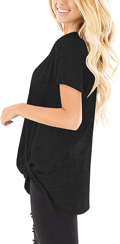 UMIPUBO Camisas Mujer Tallas Grande Verano Pullover Casual Manga Corta Cuello Redondo Blusa Nudo Torcido El/ástico Tops Verano Playa y Fiesta T-Shirts