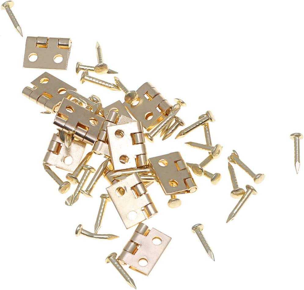 NUOBESTY 12pcs Mini Hinges Cabinet Closet Hinges with 48pcs Screws for 1:12 Dollhouse Miniature Furniture