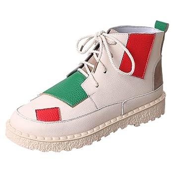 LuckyGirls Zapatillas Hip-Hop para Mujer Casual Mezcla de Colores Patchwork Calzado de Planos Transpirables Zapatos Informales Bambas con Cordones: ...