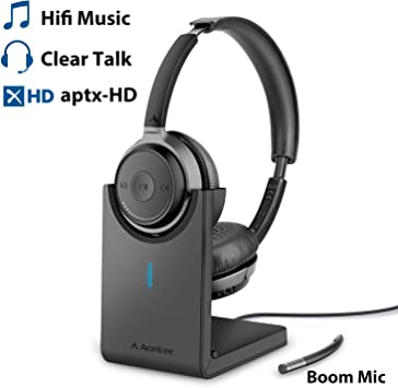 Amazon Com Avantree Bluetooth 5 0 Headset With Microphone For Computer Pc Laptop Aptx Hd Music Sound Low Latency Wireless Headphones With Boom Mic For Remote Work Home Office Skype Calls Tv Alto
