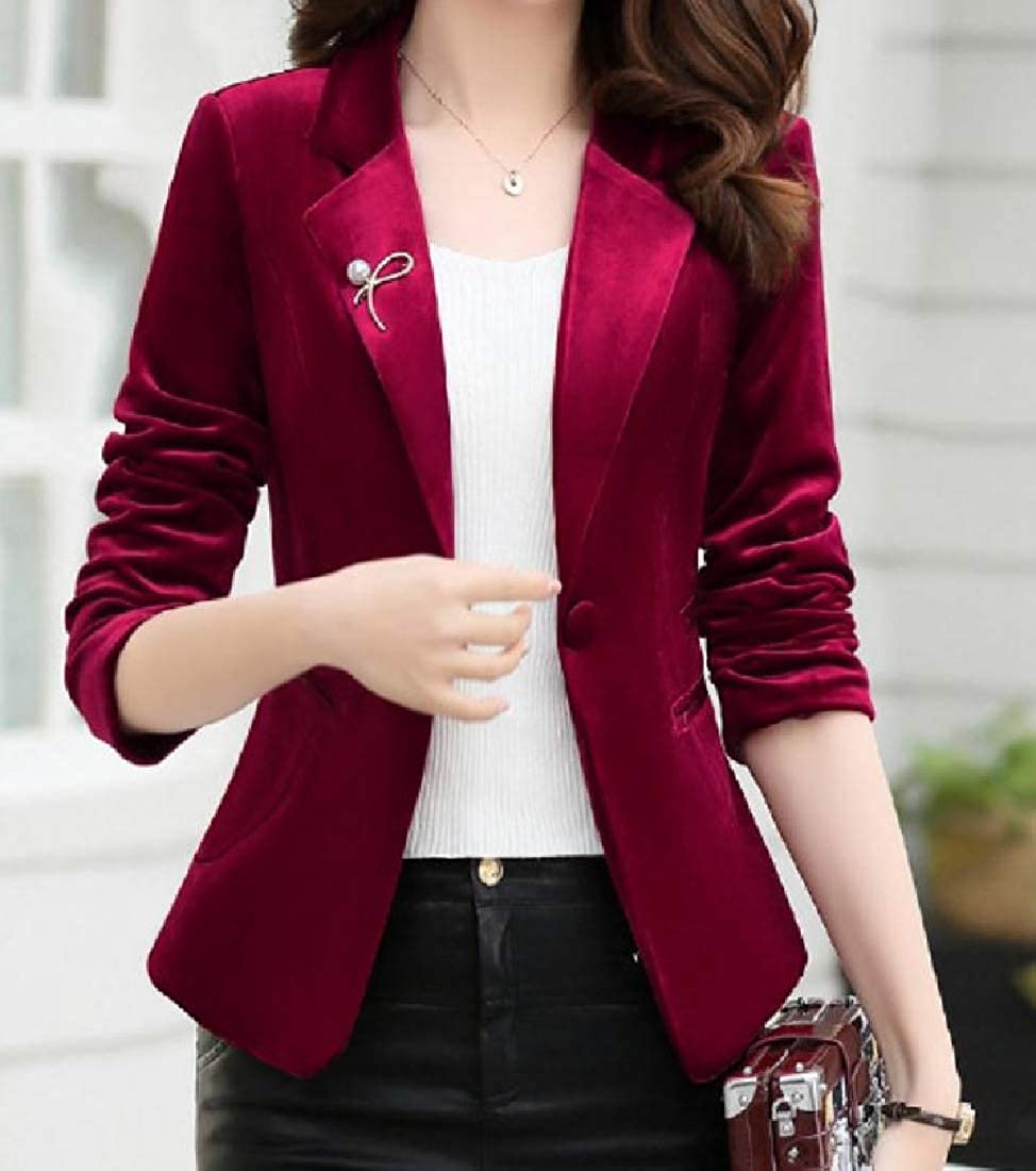 YUNY Womens Slim Tailoring Center Vent Pleuche Bridal Suit Coat Wine Red M