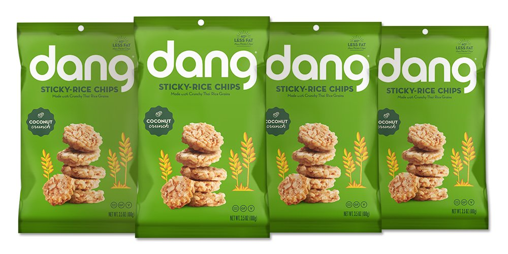 Dang Sticky Rice Chips, Coconut Crunch, 3.5oz Family Size Bags, 3.5 Ounce (4 Count)