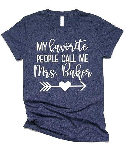 Custom Shirt//Teacher Shirt//Cute Teacher T-Shirt//Gift for Teacher//Grade Teacher Birthday Gift Tee Shirt My Favorite People Call Me Mrs