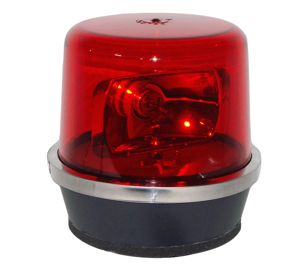 North American Signal 112HRMX-R Halogen Rotating Beacon, Magnetic Mount, Red
