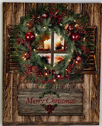 OSW Christmas Wreath on Door LED Art Canvas Light up